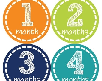 Monthly Baby Milestone Stickers Baby Boy Baby Shower Gift One-Piece Baby Stickers Monthly Baby Stickers Baby Month Sticker 307
