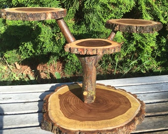 Log Elm Wood Rustic Cake Cupcake Stand Wedding party shower wooden 4 tiered, lumberjack party, boho, wild things are, live edge