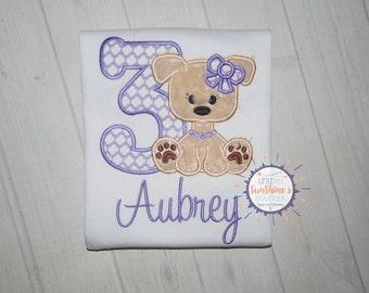 Girls personalized embroidered Puppy Birthday Shirt, Dog theme Birthday Party, Puppy Party, Girls Birthday Shirt