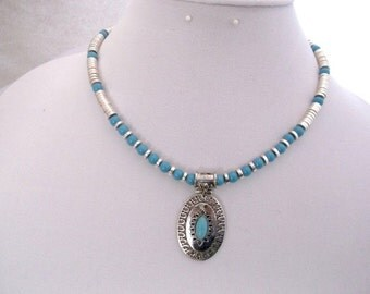 Turquoise and Silver Plated Brass 17 inch Necklace.  One of a Kind.
