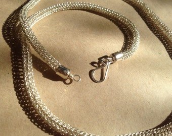 Silver plated handwoven viking knit chain necklace  67.5cm