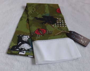 Pillow case made from GI Joe The Rise of the Cobra  cotton fabric with white trim Black and White Ninja, Personalization