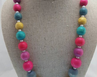 Rainbow Wooden Beaded Necklace SHIPPPING INCLUDED!