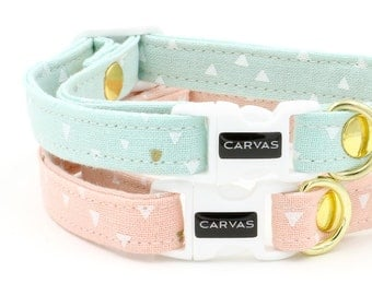 Laura Cat Collar with Breakaway Safety Buckle - Mint, Pink, Geometric - Kitten Size Available