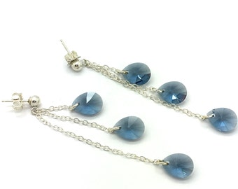 Teardrops From Heaven,Drop Earrings,Crystal Earrings,Swarovski Crystals,Blue Crystals,Sterling Silver, Chain Drops,Gift for Her
