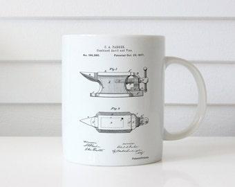 Blacksmith Anvil Patent Mug, Barn Mug, Farm Decor, Metal Work, Blacksmith Made, PP0741