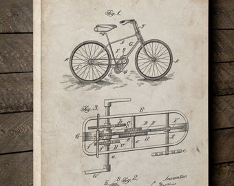 Bicycle Gearing 1894 Canvas Patent Art, Vintage Bicycle, Bicycle Art, Vintage Bike, Canvas Print, PP0051