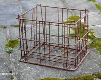 Rustic Metal Milk Crate. Vintage. Rust. Farmhouse. Home Decor. Storage. Photo Prop. Industrial. Display. Primitive. Antique Bottles. Farm.