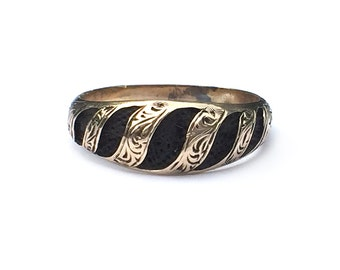 Antique Mourning Ring Victorian 10k Gold Hair Size 9 Mourning Jewelry