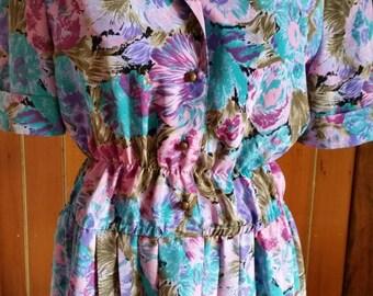 Upcycled vintage Cremorne Street floral polyester dress size 12