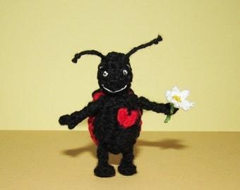 Cute LadyBug Miniature crochet Ladybug Stuffed Animal Toy miniature Amigurumi Ladybird with flower Birthday Gift Idea Animal lovers gift
