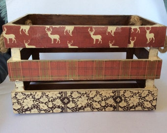 Hand finished shabby chic vintage solid wood storage crate box/apple crate with Stags and tartan theme