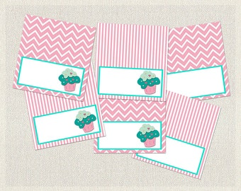 Pink Food Tent Cards Labels Birthday Cupcake Aqua 1st 2nd 3rd Printable Girl IV-6