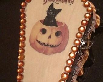 Vintage Style Black Cat 'Merry Halloween' Coffin Jewelry Box