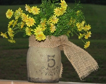 Primitive floral arrangement - primitive crock with yellow silk flowers and a burlap bow, fall flower arrangement, autumn decor