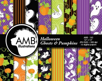 Halloween digital paper, Halloween paper, Halloween background, Ghost papers, Pumpkin paper, Commercial use, AMB-143