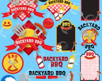 BBQ clipart, Barbeque clip art, Barbecue party clipart, Barbecue words, Barbeque clipart elements, commercial use, AMB-911