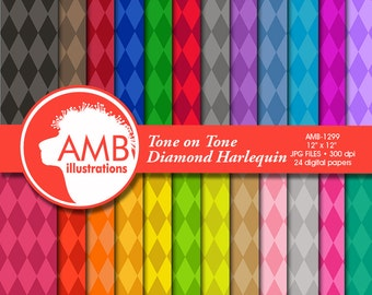 Diamond Digital Papers, Harlequin Diamond Pattern, Color on color backgrounds, scrapbook papers for invites and crafts, AMB-1299
