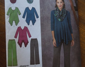 Simplicity 1323, sizes varies, misses, womens, UNCUT sewing pattern, craft supplies, tunics, pants, inifinity scarf