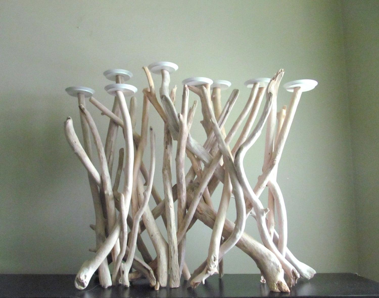bleached driftwood eight pillar plate candelabra driftwood