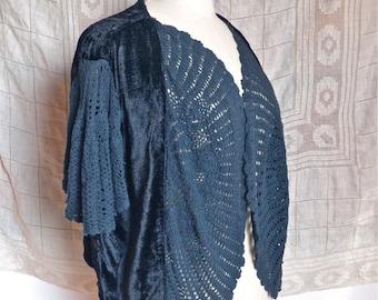 Black Velvet and Crochet Lace Bed Jacket