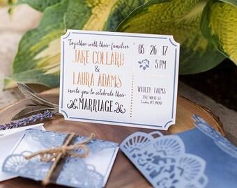 Rustic Wedding Invitations-set of 10