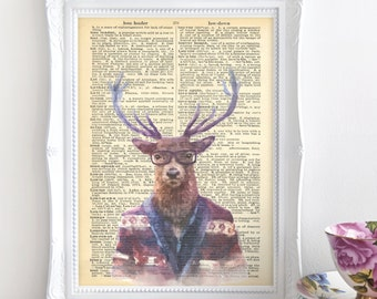 Hipster stag print, Unframed A4 print, Home decor, Dictionary art, Wall art, Stag picture, Quirky art, Gift for her, Gift for him, Stag