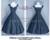 Indigo Blue Grey BRIDESMAID Dress, The Cherrybomb (Ponte de Roma) by HARDLEY DANGEROUS 1950s Rockabilly Bridesmaid Wedding Party Dress