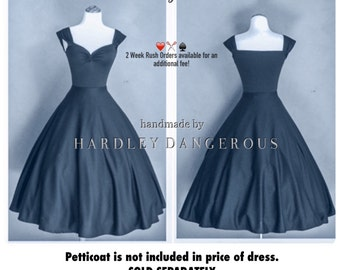 Mid Calf Length Indigo Blue Grey BRIDESMAID Dress, The Cherrybomb  by HARDLEY DANGEROUS 1950s Rockabilly Bridesmaid Wedding Party Dress