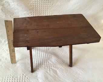 Antique primitive child's folding sewing table