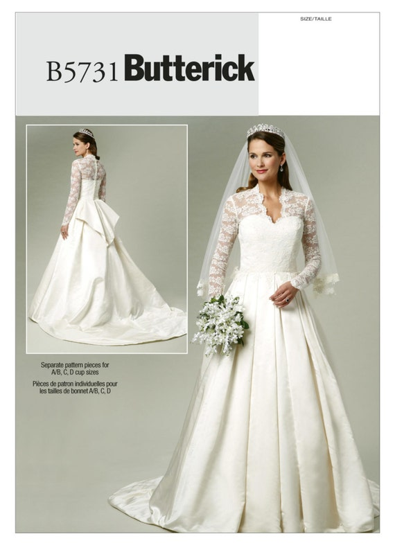 Butterick 5731 women 39 s bridal misses 39 lace overlay for Lace wedding dress patterns to sew