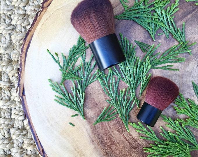 Large Kabuki Face Brush • Brown Vegan Faux • Cruelty Free • Matte Black Handle and Black Ferrules • Mineral Powder Brush • Odor + Dye Free