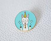 Party llama enamel lapel pin