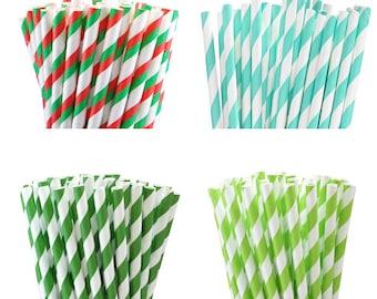 25 Green Straws and  Acqua Party Paper Straws, Wedding, Birthday,  Baby Shower