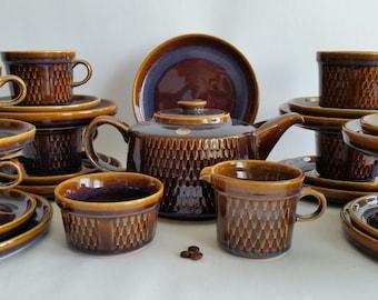 Söholm Granit tea pot, kake plate, tea cups, saucers, sugar bowl, milk jug. Maria Philippi Denish midcentury. Tea for 8 poeple.