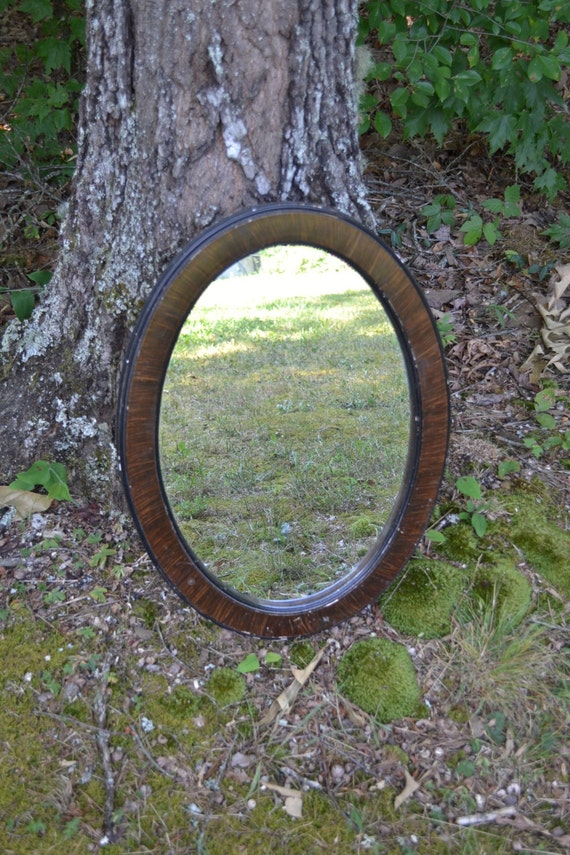 Vintage Oval Mirror Wooden Frame Rustic Home Decor Brown