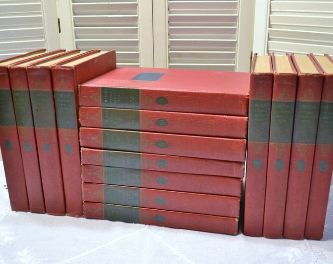 Vintage Comptons Pictured Encyclopedia Set 1954 Complete Red Hardcover PanchosPorch