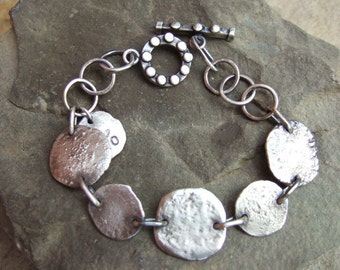 Beautiful Sterling Silver Bracelet, Hand Forged, Oxidized, Matte Finish, Everyday Wear