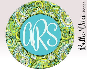 Monogrammed Mouse Pad - Pretty Lime Green Paisley with Monogram - Personalized Mouse Pad - Round or Rectangle 7065