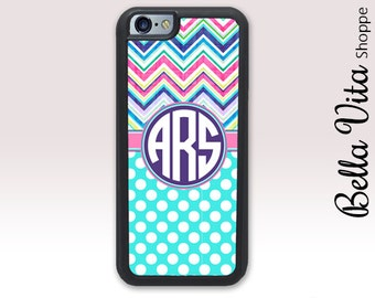 Funky Chevrons Dots iPhone 6 Plus Case, Personalized iPhone 6S Plus Case, Monogram 1224 I6P