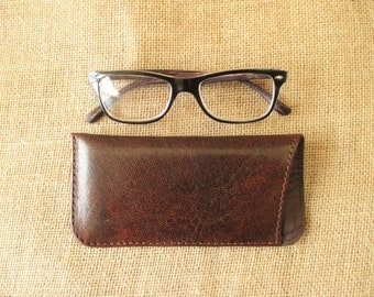 Leather glasses case, sunglass and reading glasses case, eyewear sleeve, handmade cover