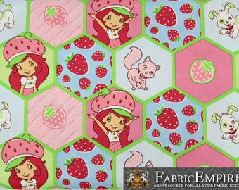 100% Cotton Fabric Quilt Prints Strawberry Shortcake & Friends Honeycomb Licensed Sold By The Yard N-Cotton-101-OT