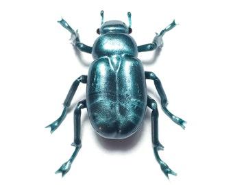 Silver Jewel Beetle (Chrysina limbata) Borosilicate Glass Sculpture