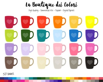 50 Rainbow Tea Cup Clip art, Digital illustrations PNG, Cute coffee mug Clipart hot drink, Planner Stickers Commercial Use