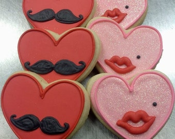 Valentines Sugar Cookies - Mustache / Lips