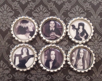 Women of Horror Magnet Set, Horror Movie, Black, Vixen, Vampire, Gothic, Goth, Occult, Halloween, Macabre, Gift, Novelty, October, Creepy