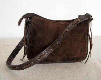 Vintage Brown seude leather Handbag womens Satchel brown leather Purse seude handbag HOBO leather bag seude satchel seude purse