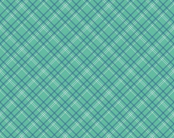 Calico Days Plaid Mint by Lori Holt of Bee in My Bonnet for Riley Blake, 1/2 yard, C6036-Mint