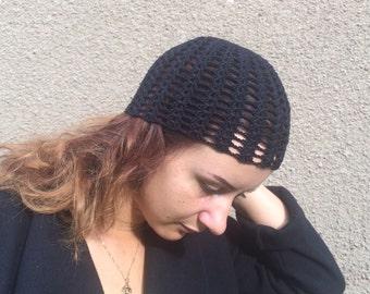 black summer hat women hat black cotton hat Crocheted  cotton summer  Beanie Hat Hand Crocheted Hat Womens Hat  blue beanie, Ready to ship