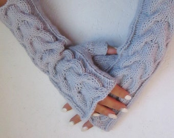 knitted gray winter gloves gray mittens, Woman gloves,gray fingerless gloves Handmade gloves, winter accessories, gray fingerless